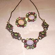 SALE Early CORO Demi Parure w/ Faux Opal & Rhinestone Necklace & Earrings