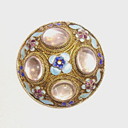 Chinese Filigree, Enamel, & Pink Quartz Cabochons Silver Brooch