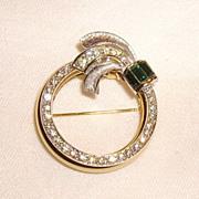 Vintage Day to Night Mechanical Rhinestone Circle Pin