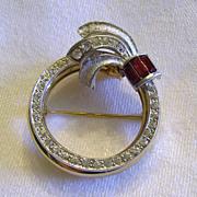 Vintage Night to Day Mechanical Rhinestone Circle Pin