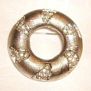 Vintage Signed KRAMER Day to Night Rhinestone Circle Pin
