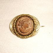 Victorian Lava Rock Cameo 10K Gold Pin