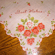 "SOLD HARD TO FIND Vintage Greeting Handkerchief ""Best Wishes"""