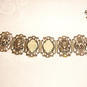 SALE Egyptian Revival 1930s Panel Bracelet w/ Hamsa, Elephants, & Celluloid