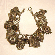Vintage Silver-Tone Chunky Lucky Charm Bracelet Owl, Rooster, Etc.