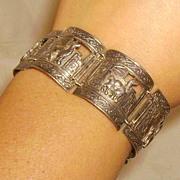 Peruvian 900 Silver Llama or Alpaca Panel Bracelet