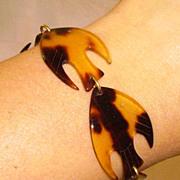 SALE Vintage Faux Tortoise Lucite Fish Bracelet