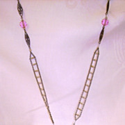 Extra Long Flapper Necklace w/ Faceted Pink Crystal Beads