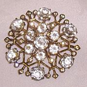 SALE Sterling Snowflake Clear Glass Crystal & Rhinestone Brooch