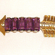 Unsigned REJA Sterling & Amethyst Rhinestone Arrow Pin 40s