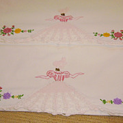 Pair of Vintage Embroidery & Crochet Southern Belle Pillowcases