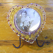 Reverse Carved & Painted Goofus Glass Bubble Picture Frame