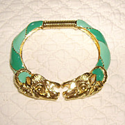 SALE Donald Stannard Ram's Head Bracelet w/ Turquoise Enamel