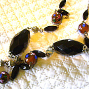 Extra Long Flapper Era Necklace with Venetian Glass Beads