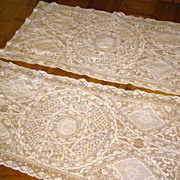 SALE Pair of Hand-Made Ivory Normandy Lace Runners