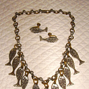 One of a Kind Sand Cast Fish Necklace and Earrings Set