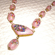 Beautiful Art Deco Art Glass Beaded Necklace