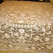 Round Italian Reticella Needle Lace Tablecloth 90 Inches