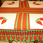 WOW! Red & Green Crochet Berry Tablecloth for Christmas