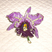 "SALE Unsigned Chanel ""Bijoux de Fleurs"" Orchid Brooch"