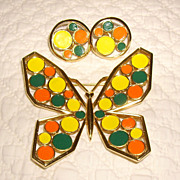 Trifari Mod Butterfly Enameled Brooch & Earring Set