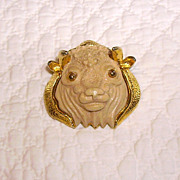 Vintage Razza Taurus Resin Face Bull Zodiac Pin