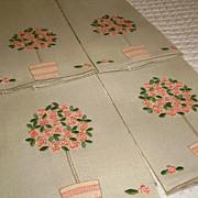 SALE Set of 4 Marghab Rose Tree Madeira Linen Fingertip Towels