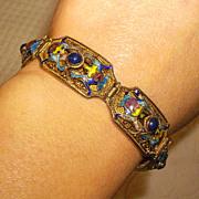 Chinese Silver Vermeil Filigree, Enamel & Lapis Bracelet