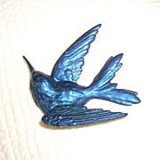 Unusual Blue Hummingbird Brooch