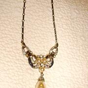 Early Trifari Faux Pearl, Rhinestone, & Enamel Drop Necklace