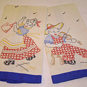 "Vintage Embroidered Linen ""Ma & Pa"" Kitchen Towels"