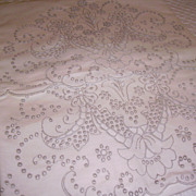 SOLD Pair of Hand Embroidered Madeira Pillowcases NOS