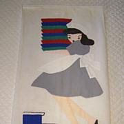 CUTE! Vintage Linen Towel with Applique Waitress