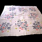Vintage Signed Ivan Bartlett Printed Linen Tablecloth
