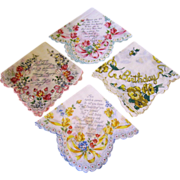 SOLD Lot of 4 Greeting Card Happy Birthday Handkerchiefs