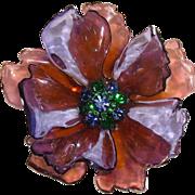 SOLD HUGE Cellulose Acetate Flower Brooch w/ Rhinestone Center
