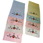 Set of 8 Embroidered Cocktail Napkins