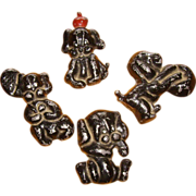 Set of 4 Lead Puppy Paper Weights