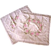 SALE Pair of Vintage Hand Embroidered European Pillow Shams