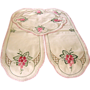 Vintage Embroidery Runner & Doily Set w/ Crochet