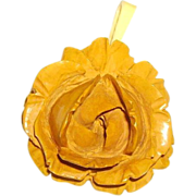 Vintage Deeply Carved Bakelite Rose Pendant