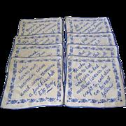 Set of 8 Printed Motto Cocktail Napkins