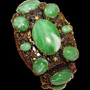 Vintage Selro Faux Jade, Copper & Rhinestone Hinged Bracelet