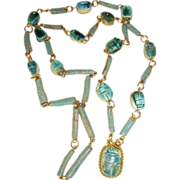 Vintage Faience Scarab Bead Necklace Egyptian Revival