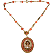 Beautiful Czech Portrait Necklace with Coral Colored Beads