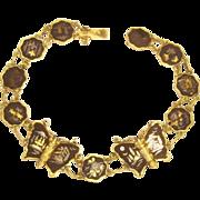 SALE Vintage Japanese Damascene Butterfly Bracelet