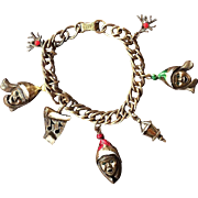 SALE Adorable 1970's Mylu Carolers Gold-tone Charm Bracelet