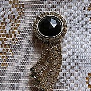 SALE Beautiful Hobe Black Rhinestone Pin