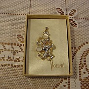 SALE Volupte Gold Tone Figural Clown Pin
