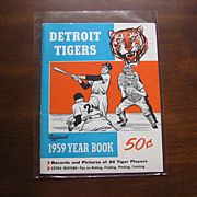 "SALE Rare ""1959 Detroit Tigers Official Yearbook"" With Tiger and Batting"